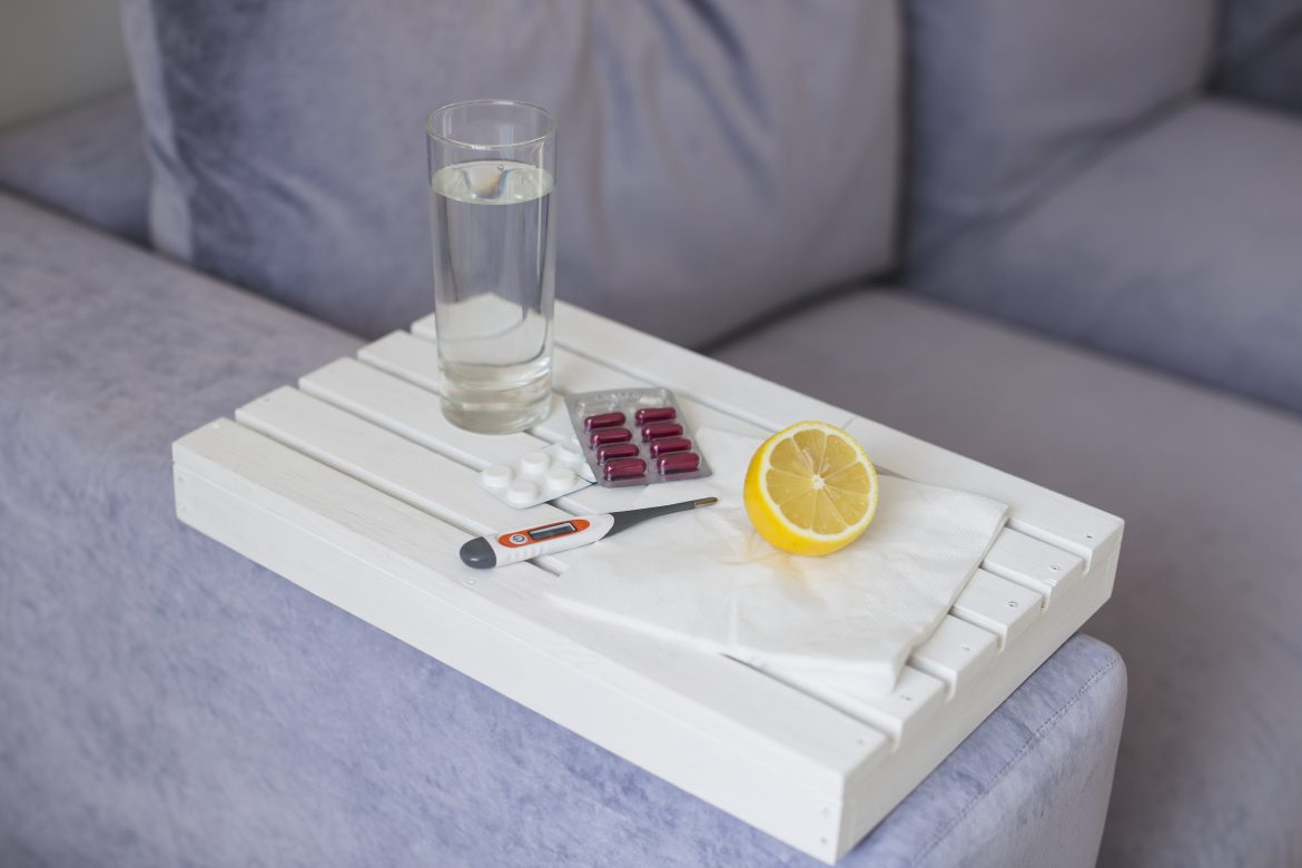 Medication on white tray